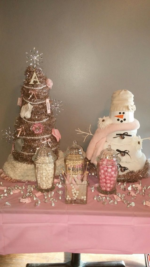 """Snowman and Christmas tree made out of diapers for my cousin's """"Baby it's cold outside"""" themed Baby Girl's Shower!!"""