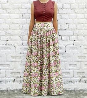 Multicoloured Cotton Printed Top & Skirt Set