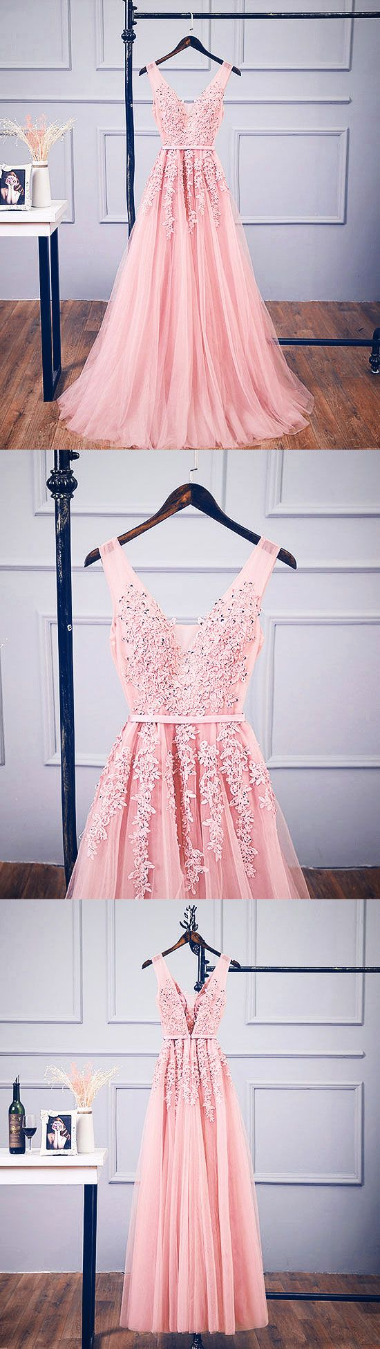Pink v neck tulle lace applique long prom dress, pink bridesmaid dress