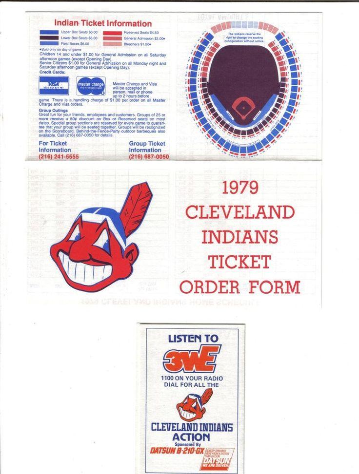 1979 Cleveland INDIANS Vintage Baseball schedule ticket form vintage old Rare 79