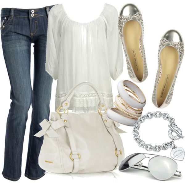 White n silver: Outfits, Fashion, Style, Clothes, Dream Closet, Silver, White Top, Wear