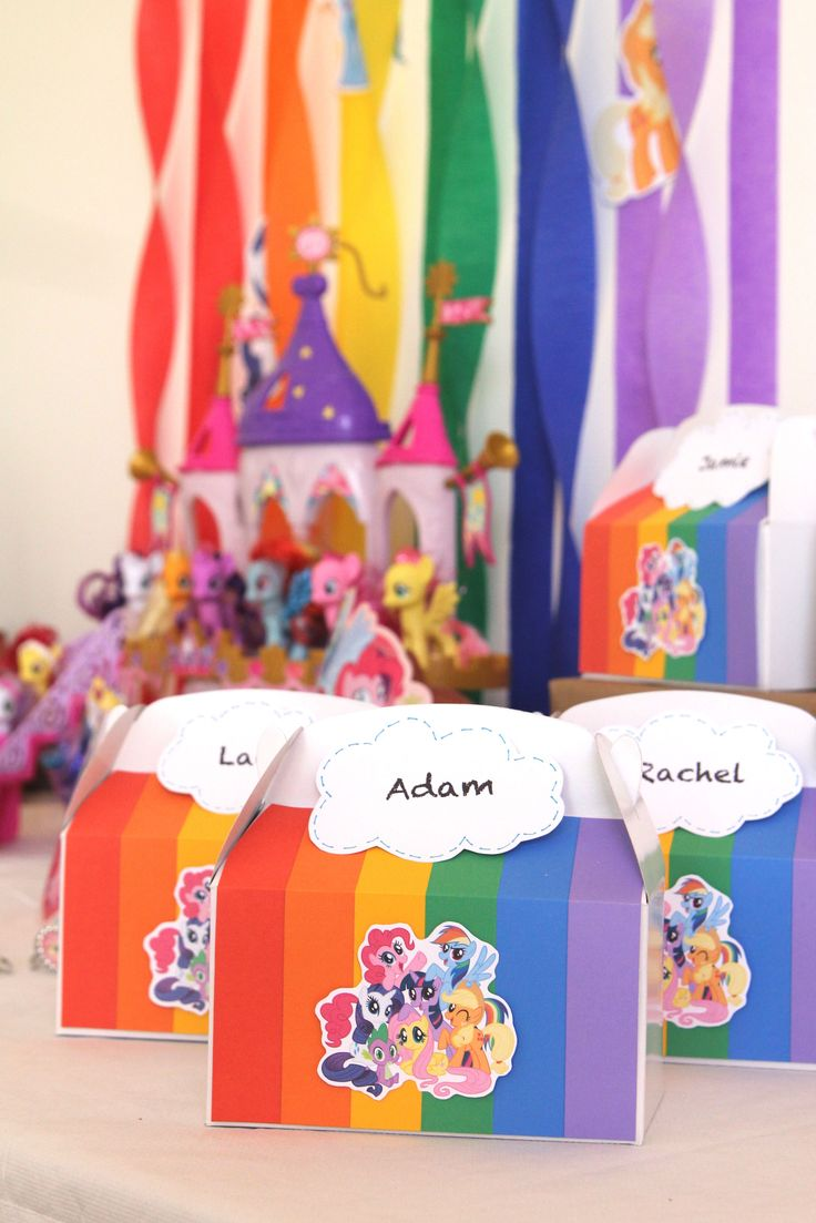 My little pony birthday party crafts - Gracie S My Little Pony Rainbow Birthday Party Kid Favor Boxes