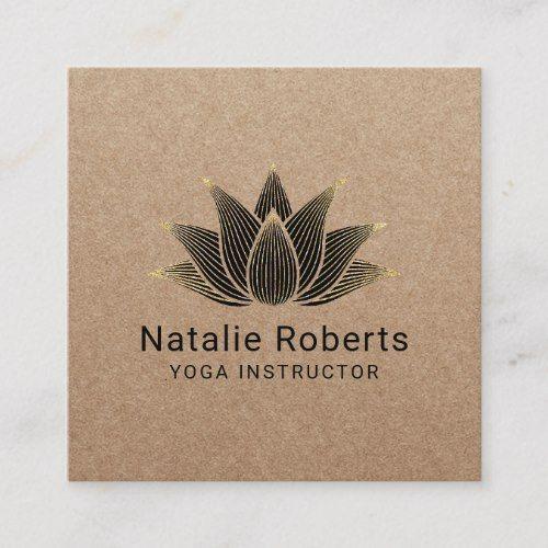 Yoga Instructor Black Lotus Flower Vintage Kraft Square Business Card