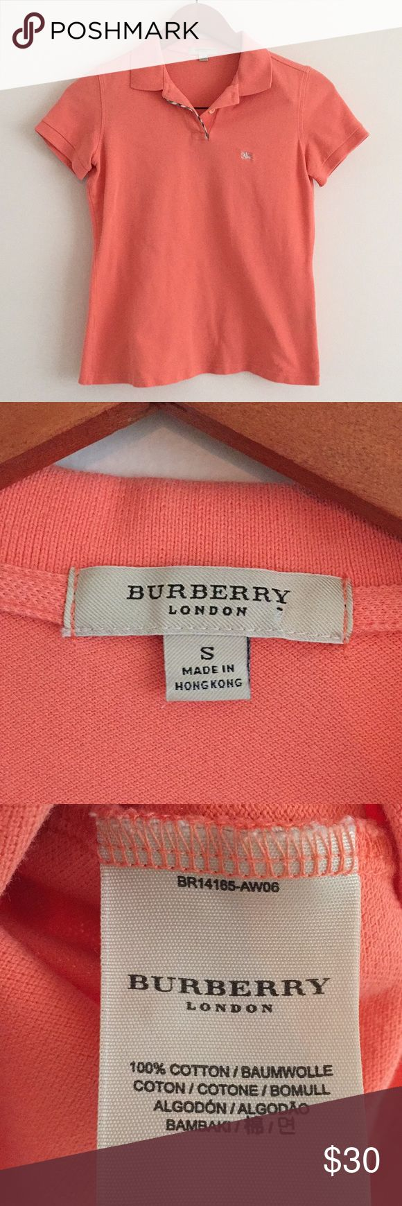 Burberry orange polo Burberry orange polo shirt Burberry Tops