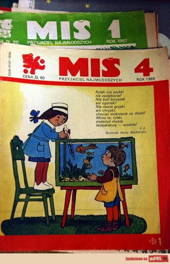 """Miś to pierwsze czasopismo dla dzieci w wieku przedszkolnym od 3- 6 lat jakie pojawiło się po wojnie.Ukazał  się 15.II.1957 roku w W-ie i jako dwutyg. był do kupienia w każdej budce ruchu.Twórcą  """"Misia"""" był St. Aleksandrzak.""""Miś"""" korzystał z najlepszych tradycji polskiej literatury i sztuki ilustracji. W latach 1957-1989 """"Miś"""" Od innych misiów wyróżnia go opuszczone uszko. A to dlatego, żeby bajki które mu wleciały jednym uchem , nie wyleciał drugim, i żeby je mógł potem dzieciom opowiadać."""