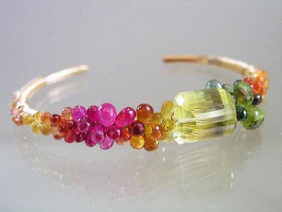 Ruby Sapphire Gold Filled Cuff Colorful Bracelet por bellajewelsII