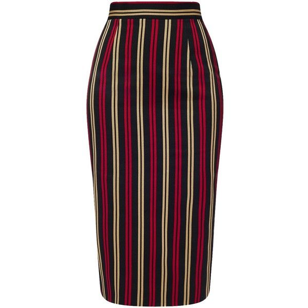 Michel Klein Black Striped Twill Gilda Skirt ($435) ❤ liked on Polyvore featuring skirts, multi, reversible skirt, stripe skirt, striped skirt, twill skirt and pencil skirt