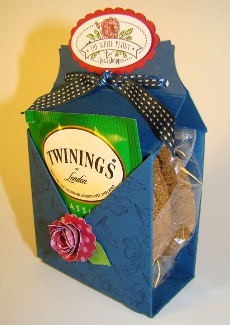1. Make Box, add ribbon 2. Bake cookie 3. Add teabag or coffee depending on person, cute lil present