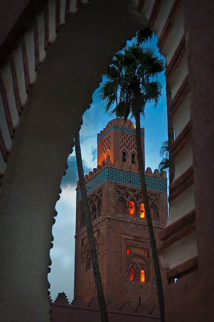 Koutoubia Mosque at dusk, Marrakesh, Morocco