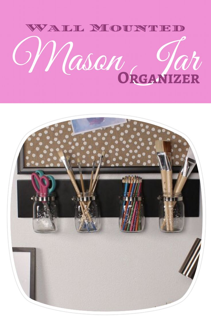 Versatile mason jar wall organizer. Perfect for office, kitchen, or bathroom. Can also use as part of a gallery wall with floral arrangements, or a family organizing station. Farmhouse decor ideas, kitchen organization ideas, country kitchen decor ideas, southern kitchen, rustic kitchen, rustic decor, country farmhouse decor ideas, country farmhouse, DIY, mason jar project, #ad