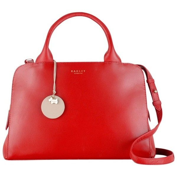 Radley Millbank Medium Multiway Handbag, Red (€240) ❤ liked on Polyvore featuring bags, handbags, red, red handbags, real leather handbags, red purse, radley handbags and round handbag