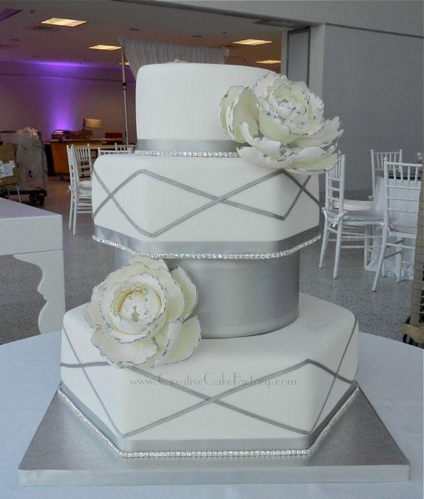 wedding cakes with rhinestone banding | ... & White Wedding Peony Cake — Other / Mixed Shaped Wedding Cakes