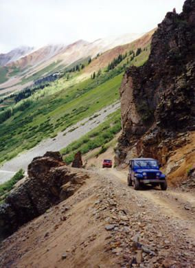 Ophr Pass, between Silverton and Telluride, Colorado David and I love to drive the jeep on these kinds of trails!