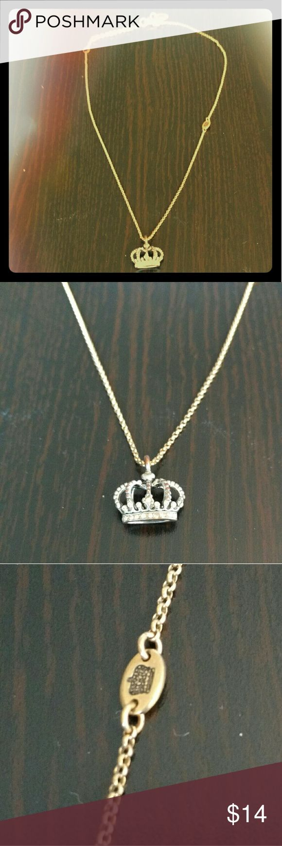 Juicy Couture Crown Necklace Juicy Couture pendant necklace with crown charm, crown plate accent, J stamped clasp, and crown stamped end tab. Juicy Couture Jewelry Necklaces