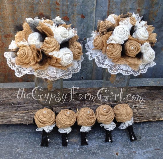 Tan and Black Burlap and Lace Wedding Bouquets and Boutonnieres by GypsyFarmGirl