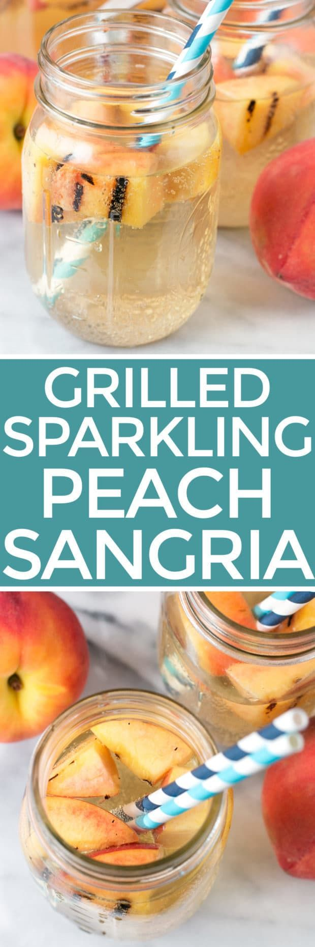 When you are in the middle of peach season, Sparkling Grilled Peach Sangria is how you do happy hour. Doesn't your end-of-day routine deserve something a little grilled, fruity and bubbly? The answer is yes, yes it DOES. Sparkling Grilled Peach Sangria | cakenknife.com #peaches #summer #cocktail