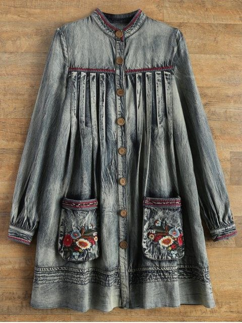 Denim Round Neck Long Sleeve A Line Dress - BLUE M