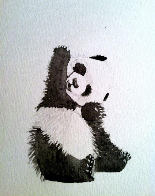 Baby panda watercolor by Cielo Azul Jewelry: Sunday blues