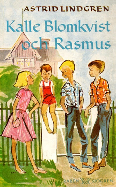Astrid - Kalle Blomkvist and Rasmus  Cover and illustrations: Kerstin Thor Wall Falk (Kerstin Thorvall)   Year: 1953