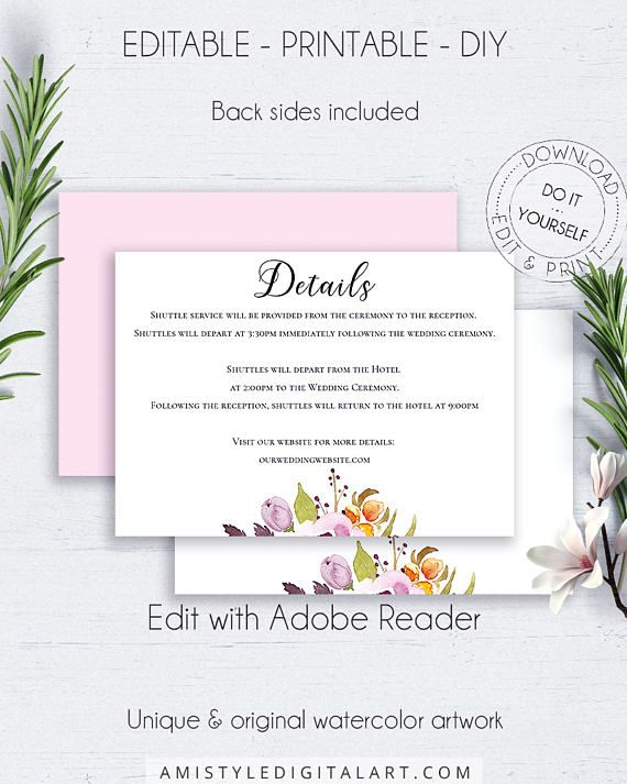 Bohemian Wedding Details Template, with beautiful and unique nice watercolor floral design for the lovers of the boho and romantic styleThis adorable wedding enclosure card template is an instant download EDITABLE PDF pack so you can download it right away, DIY edit and print it at home or at your local copy shop by Amistyle Digital Art on Etsy