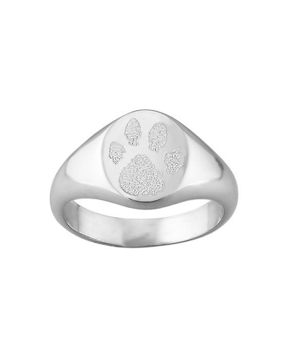 Actual pet paw print signet ring  • available in solid 14k gold or sterling silver • Personalized custom dog or cat signature memorial ring