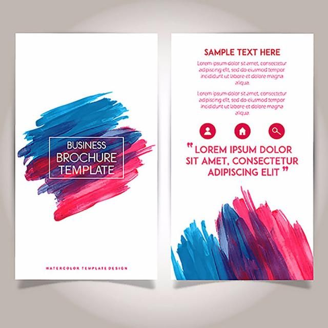 Hand Drawn Watercolor Brochure Template Design Brochure Design
