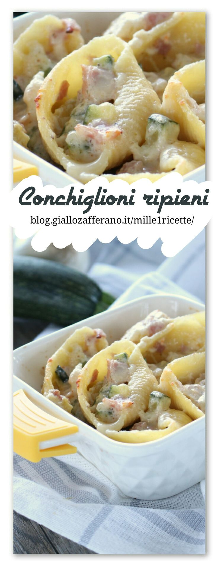 I Conchiglioni gratinati con zucchina, prosciutto e besciamella, è un primo che amo, perchè amo follemente la pasta a forno, condimenti semplici arricchita da besciamella, e una bella gratinatura...