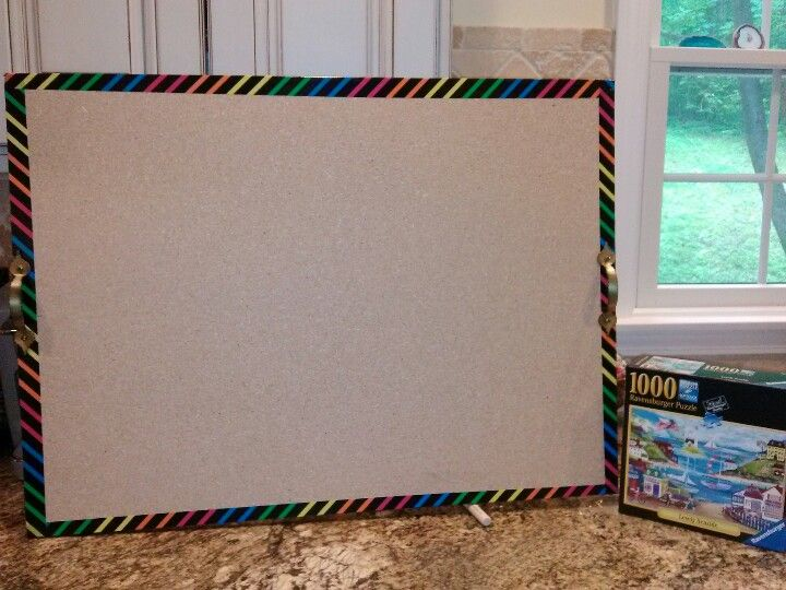 Portable Puzzle Board DIY Just Made This In 5 Min. Get A Scrap Piece Of 1/2  In Board @ Lowes...they Could Cut It Down To About 23X30...wru2026
