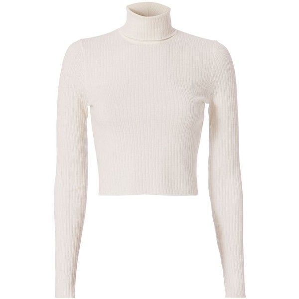 A.L.C. Women's Elisa Turtleneck (£225) ❤ liked on Polyvore featuring tops, sweaters, white, white long sleeve sweater, long sleeve crop top, white long sleeve turtleneck, cropped turtleneck sweater and crop top