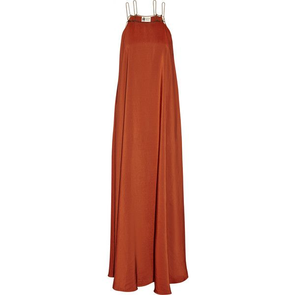 Lanvin Satin gown (4.525 BRL) ❤ liked on Polyvore featuring dresses, gowns, lanvin, long dresses, maxi dress, maxi gowns, brown maxi dress, loose maxi dress and brown dress