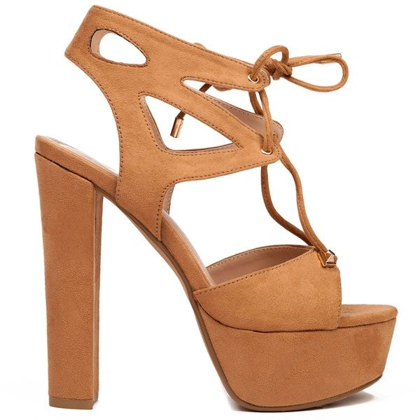 Camel high-heel sandal with suede texture and platform. Features metallic decorative details. Fastens with laces with metallic edges.