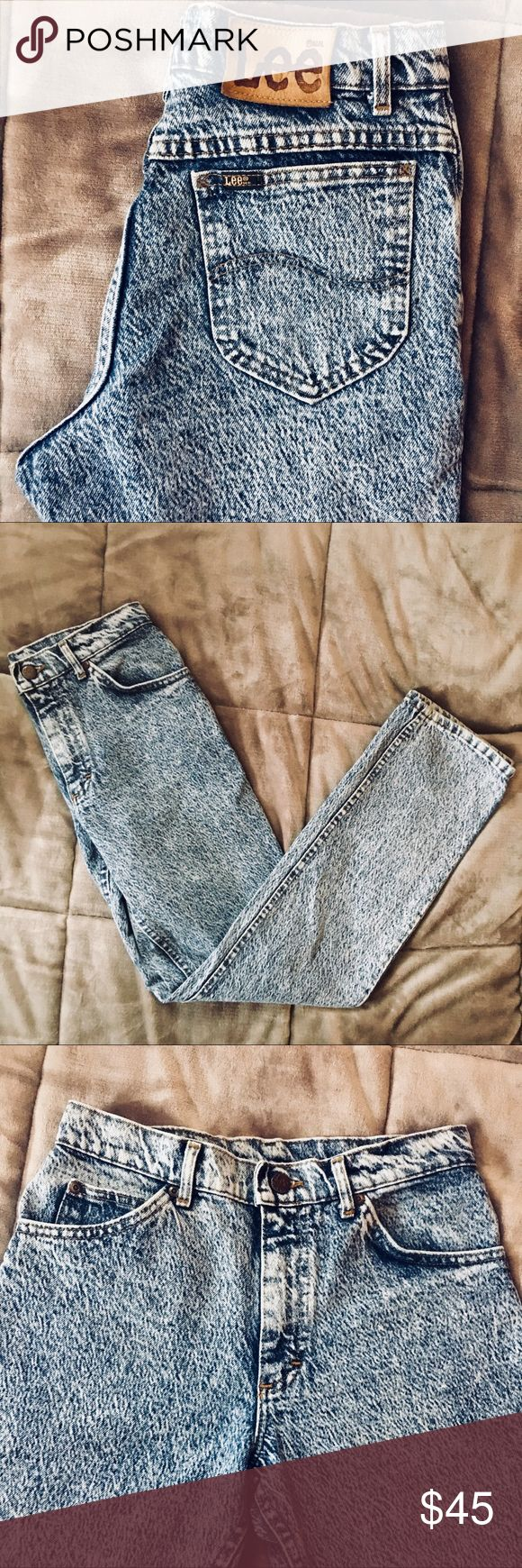 Vintage Acid Wash Lee Jeans Amazing condition!! Like, seriously unbelievable vintage condition. There are really no flaws to note... perfect acid wash denim, thick and excellent quality, tapered leg, no rips or tears or stains. 26in waist. Let me know if you have any questions!! Lee Jeans
