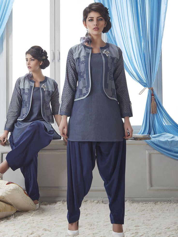Синий женский летний индийский костюм-тройка