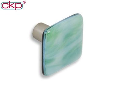 334 ckp brand light green swirl art glass knob with dull brushed nickel base