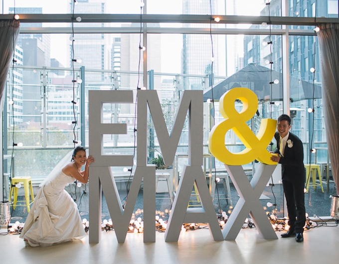 giant letters + lightbulbs // Em + Max wedding through the eyes of Jeremy Beasley, design by The Style Co.
