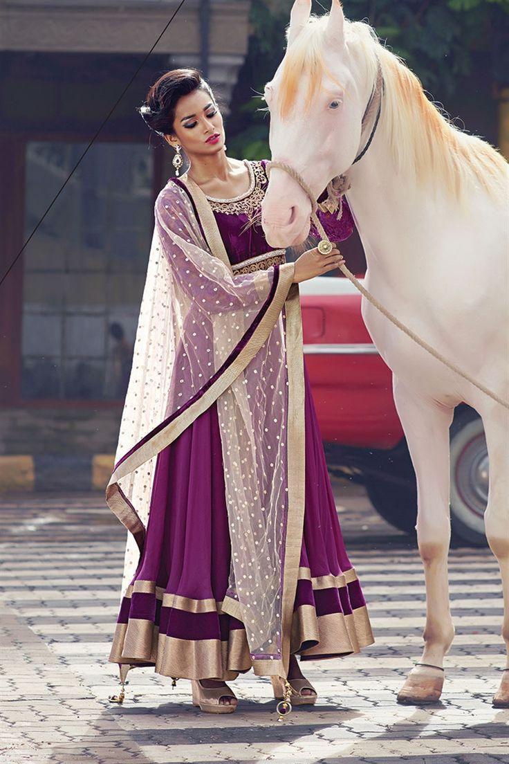 Magenta & Off White #Anarkali #Suit. Fake horse but I love the #anarkali