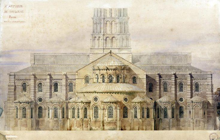 Saint-Sernin de Toulouse chevet restauré. - Viollet Le Duc