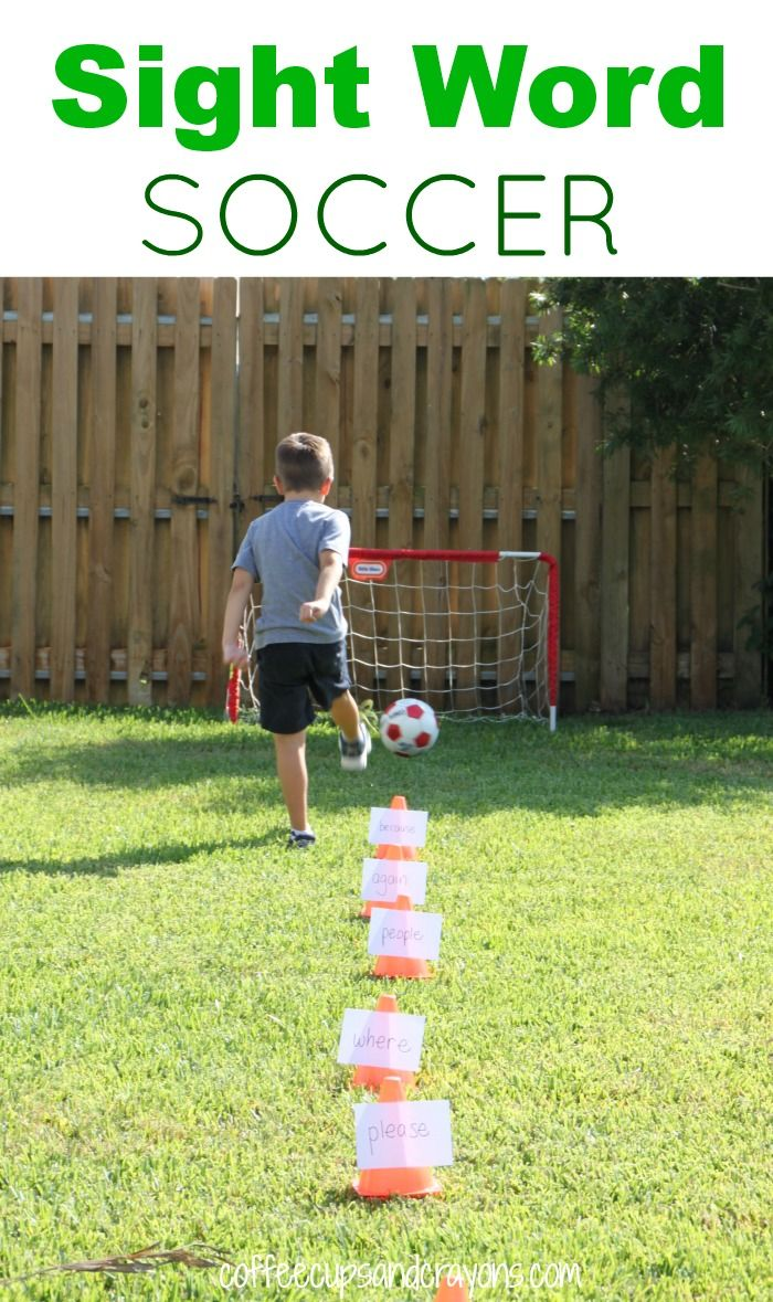 Sight Word Soccer!  A fun way to move and learn while you are practicing sight or spelling words! What a brilliant idea!!