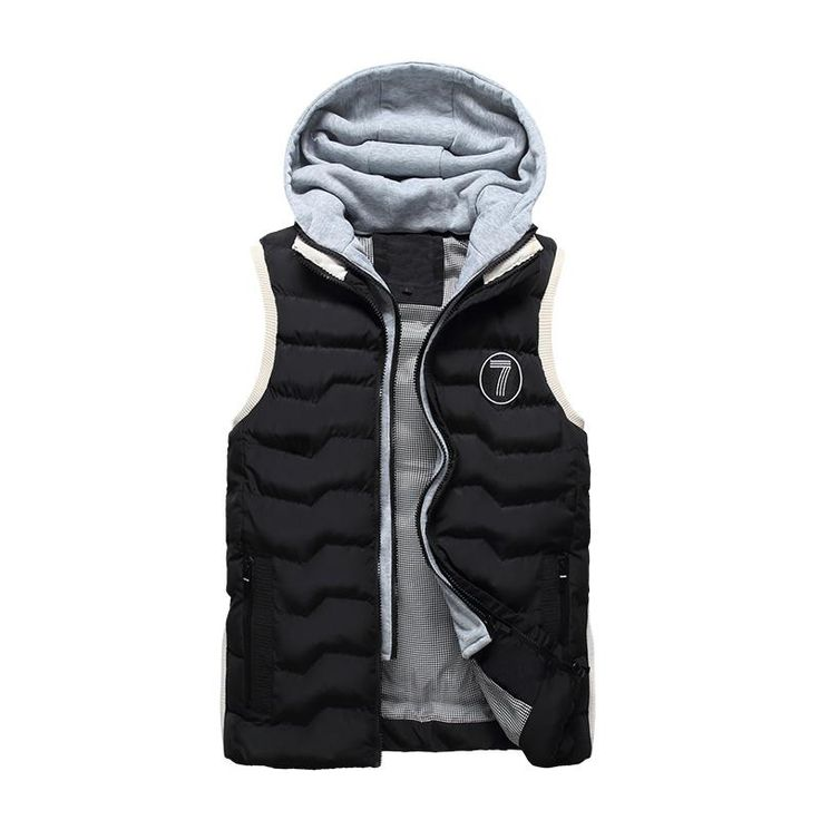 Men's Vest Fashion Slim Fit Winter Sleeveless Jacket Men Autumn Hooded Waistcoats Coletes Masculino Casual Cotton Vesta Hommer