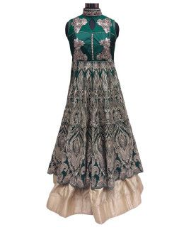 Dazzling Green Silk Lehenga Suit With Dupatta.
