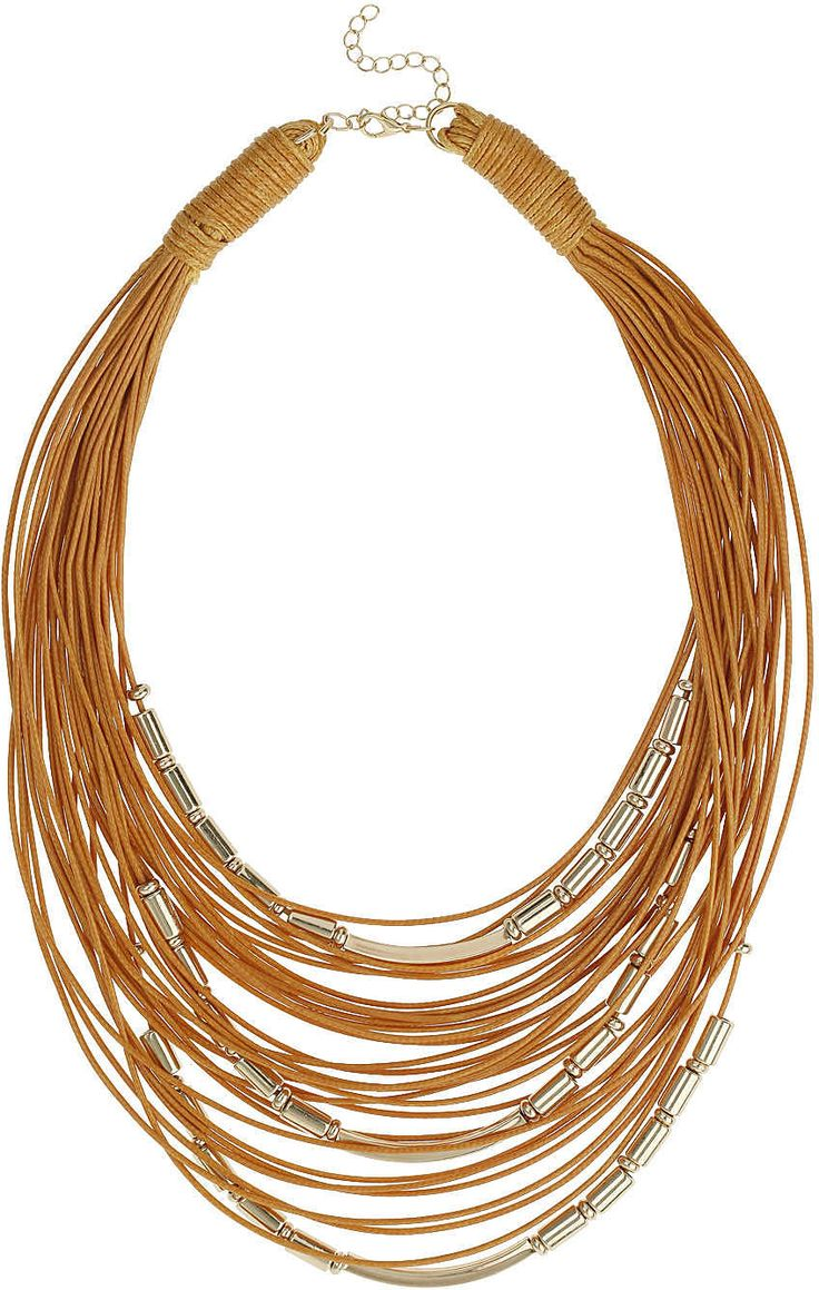 Womens windsor tan fabric multi row necklace from Topshop - £14 at ClothingByColour.com