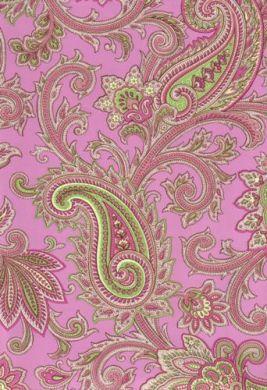 Pink and Green Paisley Wallpaper