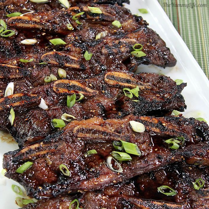 Korean Barbecue Beef Short Ribs are so easy to grill or broil, and they're amazingly delicious thanks to a flavorful marinade. They are cut across the bone flanken-style, and have more the appearance of thin steaks than traditional ribs. The Korean name for this recipe is Kalbi or Galbi. It's no wonder these incredibly succulent ribs are now surging in popularity in the U.S.  From The Yummy Life