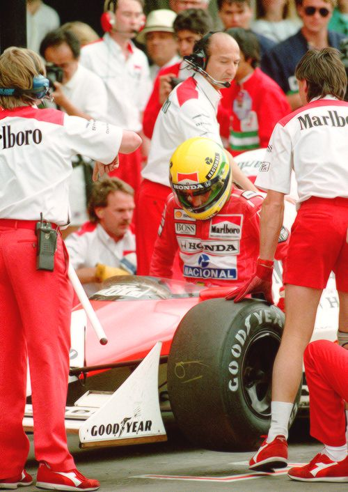 Ayrton Senna preparing for practice