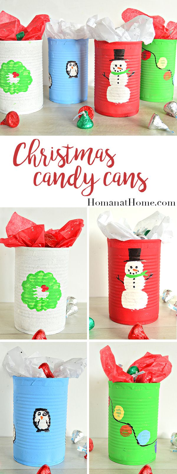 Upcycle used tin cans to make an adorable Christmas Candy Can. Easy enough kids can do it, and it makes a great friend and neighbor gift!