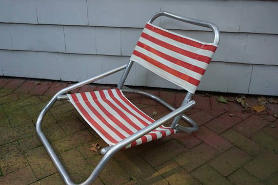 Vintage Beach Chairs, Folding Chair With Canvas Fabric, Aluminum Frame, Pool Picnic Chair, Outdoor Furniture, Mid Century, Red White Striped