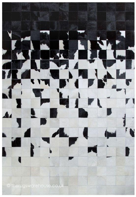 Crumple Rug, a stunning handmade monochrome black & white cowhide leather rug (handmade in Spain, 6 set + custm sizes, set sizes from  £415.00) http://www.therugswarehouse.co.uk/modern-rugs3/girona-rugs/crumple-rug.html #rugs #monochrome #luxury