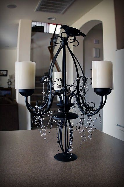 : Halloween Decorations, Craft, Candle Holders, Hallows Eve, Halloween Candelabra, Party Idea, Halloween Centerpieces, Halloween Ideas