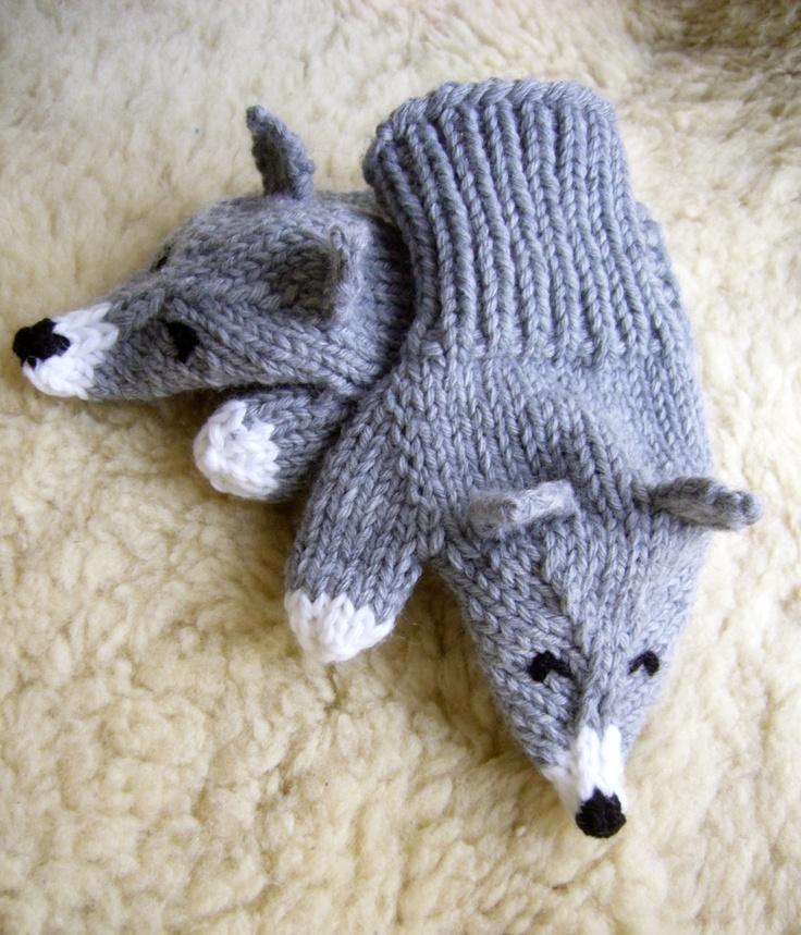 Les P'tits Loulous, moufles Loup tricotées pour enfants