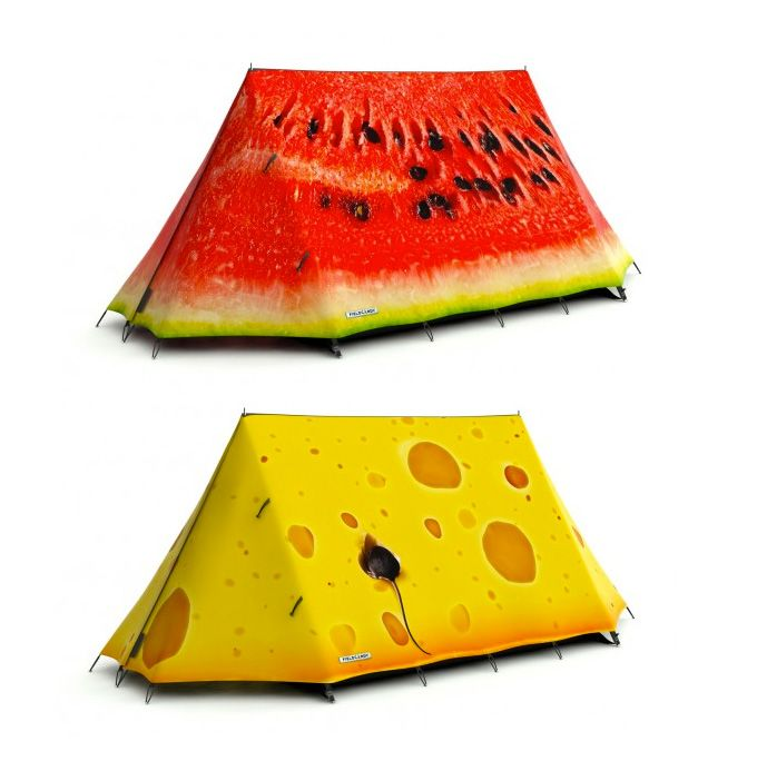 Imaginative tents!Fieldcandi Tents, Stuff, Camping, Food, Camps, Watermelon, Products, Funny Tents, Design